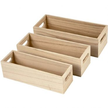Set of 3 Open top small storage display box set